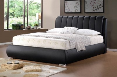 a fantastic looking faux leather bed frame which will look fantastic in a slik city apartment the grace is finished in a luxurious matt black faux leather